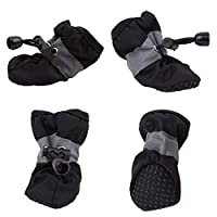 Vektenxi 4PCS Waterproof Dog Shoes Protective Dog Boots Non Slip Shoes Paw Protectors Boots for Pet Cats Dogs S, Black Durable and Practical