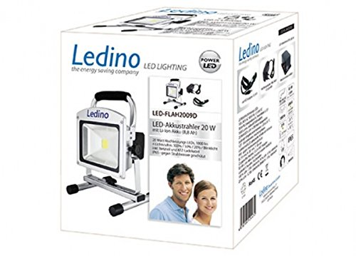Ledino LED Außenstrahler Ledino LED-Akkustrahler 20W Li-Ion Akku 88Ah dimm | LED-FLAH2009D