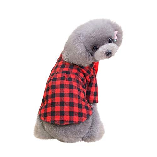 Hawkimin Hunde Klamotten Mode Haustier Kostüme Frühling und Sommer Streifen atmungsaktiv einfaches neues Kariertes Hemd (Einfach Kostüme Piraten)