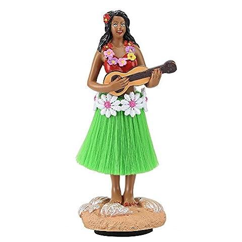 Smyer Hula Girl, Mini poupée de tableau de bord jupe verte Joue du Ukulélé hawaïen cadeaux pour décoration 11,4cm de haut