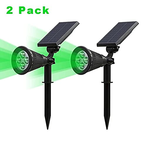(2 Pack&250 Lumens)T-SUN LED Solar Spotlight, 4 Led Green Waterproof Outdoor Security Garden Landscape Lamps, 180°angle Adjustable, Auto-on At Night/Auto-off By Day for Tree, Yard ,Lawn ,Pathway ,Deck ,Patio Etc.(Green)