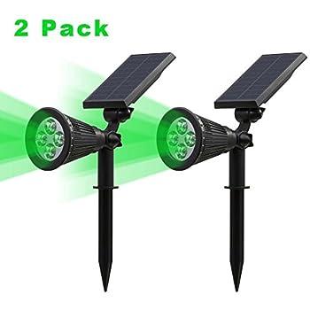 2 lumenstsun led solar spotlight 4 led green waterproof outdoor security garden landscape lamps 180angle adjustable autoon at
