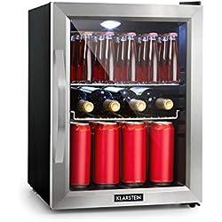 Klarstein Beersafe M Réfrigérateur avec porte en verre - Mini-réfrigérateur, Mini-bar, 35L, Éclairage intérieur LED, 5 niveaux de froid, 0 à 10°C, Noir