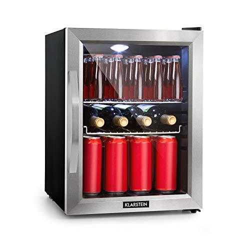 Klarstein Beersafe M Kühlschrank mit Glastür - Mini-Kühlschrank, Mini-Bar, 35 Liter, LED-Innenbeleuchtung, 5 Kühlstufen, 0 bis 10 °C, nur 42 dB, Edelstahlrahmen, inkl. 2 x Metallrost, schwarz