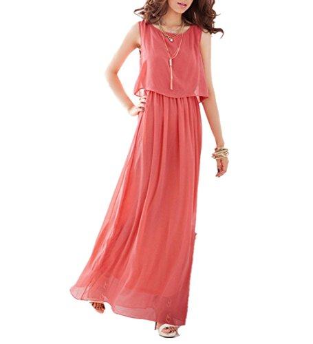 Wealsex Elegant Ärmellos Chiffon Strandkleider Damen Sommerkleid Lang Rot