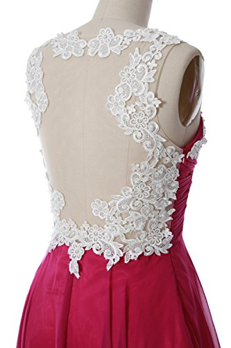 MACloth Women Lace Straps Ruched Chiffon Short Prom Dress Formal Cocktail Gown Lavendel