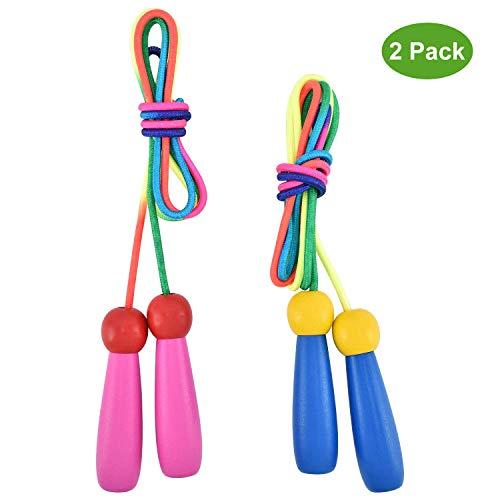 OTraki Verstellbare Springseil Kinder 2 Stück Rope Skipping Seil mit Holzgriff und Baumwollseil Jump Rope Seilspringen Kids für Jungen und Mädchen Fitness Spiel und Knochenentwicklung zu fördern 200CM -