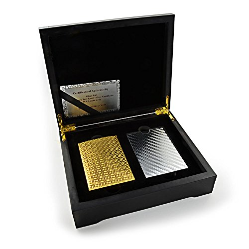 Coffret de poker texas hold'em-cartes en or et argent avec 2 x 54 cartes, les deux kartensets élégant coffret, black jack, cartes de jeu, cartes, skat plastiklarten, playing cards 999.9 ganzoo or