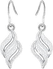 1par mujeres pendientes pequeños en plata diseño ondulado tuerca Lovely forma de hoja pendientes