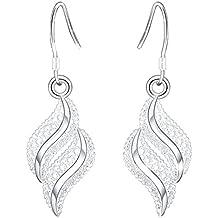 joyliveCY-1 par de pendientes para mujer, plata, dise?o ondulado de hoja