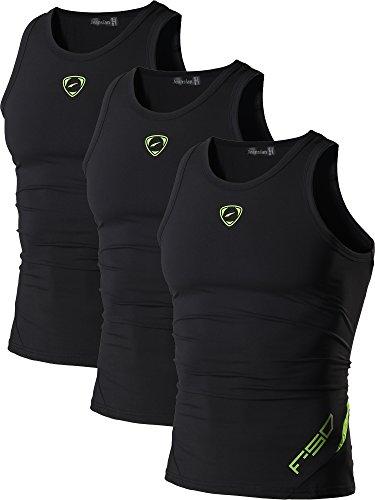 jeansian Herren Sportswear 3 Packs Sport Quick Dry Compression Tank Tops Vests Shirt LSL3306 PackG XL -