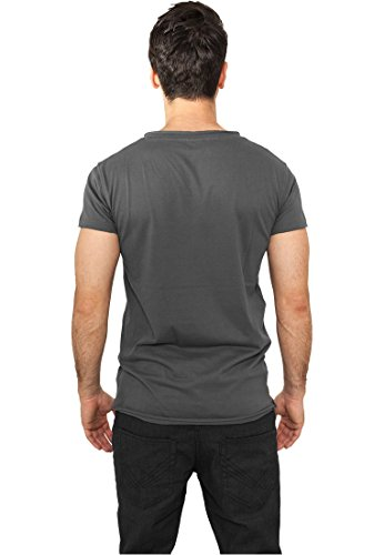 Fitted Peached Open Edge V-Neck Tee Darkgrey
