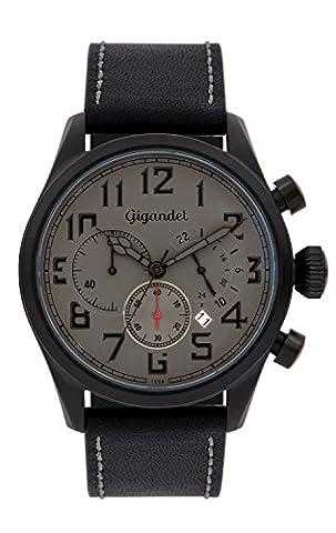 Gigandet Quarz Herren-Armbanduhr Interceptor Chronograph Uhr Datum Analog Lederarmband Grau Schwarz G4-006