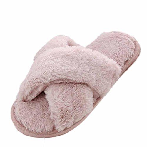 Byste donna piatto morbido soffice faux pelliccia piatto pantofola capovolgere fiasco sandali scarpe (eu:39, rosa)