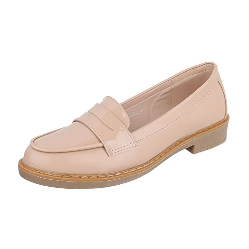 Slipper Damenschuhe Low-Top Blockabsatz Moderne Ital-Design Halbschuhe Beige