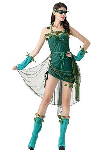 Smile YKK Wald Geist Stil Damen Halloween Kostüm Cosplay Bekleidung Minikleid +Schürze+Überärmel+Beine schmuck +Augenblende (Wald Kostüme Halloween)