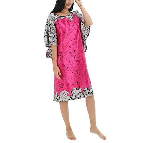 BigForest Femmes Batwing Sleeve Pullover Peignoir Satin Plus Size Pyjama robe set B Rose Red