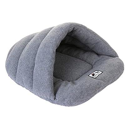 UEETEK Soft Warm Dog Cat Cave Bed House Cushion Cotton Plush Pet Sleeping Bag Grey 2