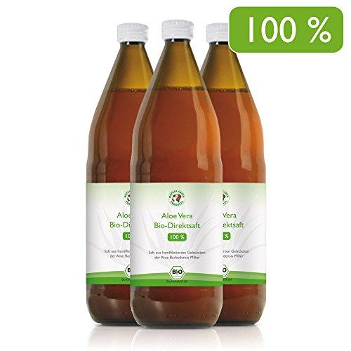 Aloe Vera Premium Bio Direktsaft, besonders wertvoll durch Handfiletierung und durchschnittlich 1200mg/l Aloverose, 3 x 1000ml