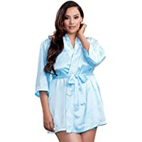 Icollection Lingerie Plus Size Sexy Satin Robe