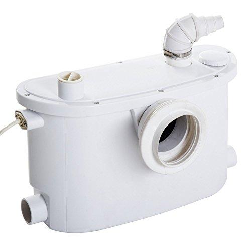 HomCom Bomba Trituradora Sanitaria de Agua Residual con 400W y 4 Entradas para Baño Cocina y Lavabo - 45x21.5x29cm