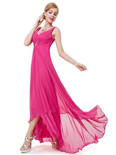 Ever Pretty Damen V-Ausschnitt Chiffon Lange Abendkleider Größe 38 Hellrosa
