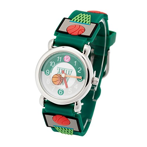 Kinderuhr Silikon Armband Uhr Wasserdichtes 3D lieblich Tiere Cartoon Digital Armbanduhr Zeit Lehrer Geschenk für Kinder kleine Mädchen Jungen (Grün Basketball)