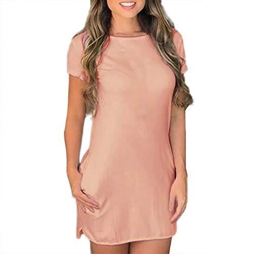 Nyuiuo Damenmode einfarbig kurzärmeliges Minikleid sexy Mode kurzärmeliges dünnes enges Rundhals-Minikleid leicht atmungsaktives einfarbiges Kleid