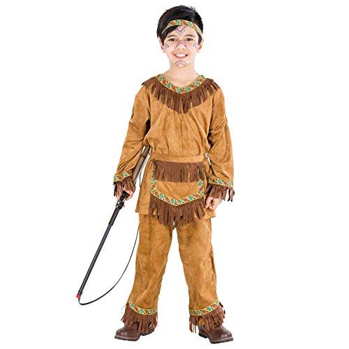 TecTake dressforfun Jungenkostüm Indianer | Kostüm mit vielen Fransen und tolle Bordüren | inkl. Haarband und Bindegürtel (5-7 Jahre | Nr. ()
