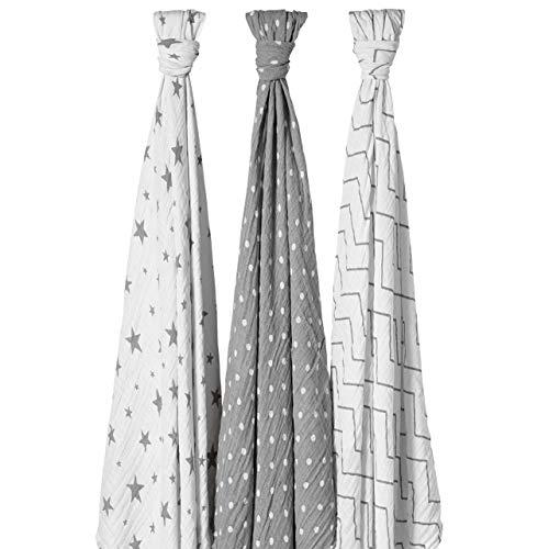 Bloomsbury Mill - 3er-Pack Pucktücher – 100% Baumwolle - Große Mulltücher für Baby - 120 cm x 120 cm – Sterne, Winkelmuster & Punktmuster – Grau & Weiß