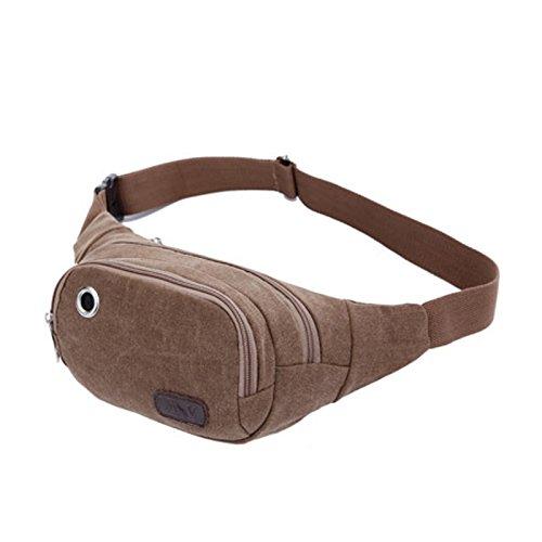 Dxlta Mode Unisex Canvas Taille packt Gürtel Tasche tragbare Männer Frauen reisen Taille Sporttaschen Braun