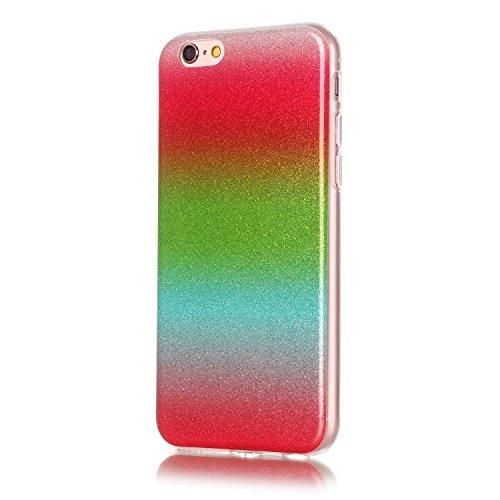 "OuDu iPhone 6 PLUS/6S PLUS (5.5"") Hülle, Glitzern Funkeln Hülle TPU Silicone Etui für iPhone 6 PLUS/6S PLUS (5.5"") Bling Glitter Case Sparkle Style Cover Soft Lightweight Bumper Flexible Schlanke Scha Rot & grün"
