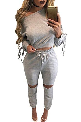 Neue Damen 2Stück grau Spitze bis Sleeve Crop Top Schwitzanzug Trainingsanzug Hose Club Wear Casual Kleidung Größe M UK 10–12EU 38–40 (Spitze Lounge-hose)
