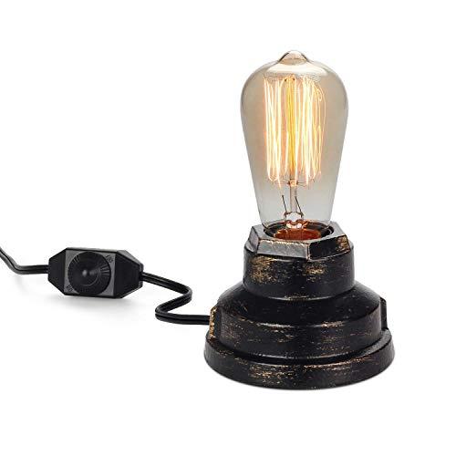 CARYS Vintage Tischlampe Retro Tischleuchte Industrielle Eisen Schreibtischlampe Schalter Steampunk Lampe mit E27 Lampenschirm Edison Sockel Loft für Wohnzimmer Schlafzimmer Büro Bar -