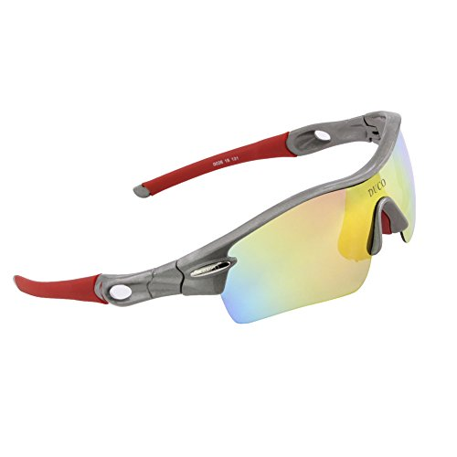 Duco Polarized Sports Sunglasses with 5 Interchangeable Lenses UV400 Protection Sports Sunglasses for Cycling Running Glasses 0026(Gunmetal)