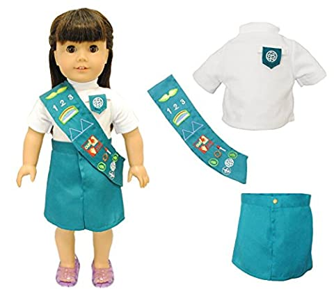 Pink Butterfly Closet Doll Clothes - Junior Girl Scout Uniform Fits American Girl Dolls, Madame Alexander and Other 18