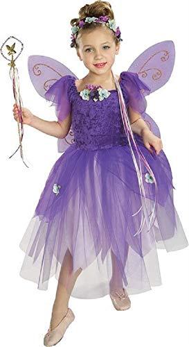 mädchen-lila Pflaume Elfe Fee Prinzessin mit Flügeln & Zauberstab Buch Tag Woche Verkleidung Kleid Kostüm Outfit 3-10 Jahre - Lila, Lila, 5-7 ()