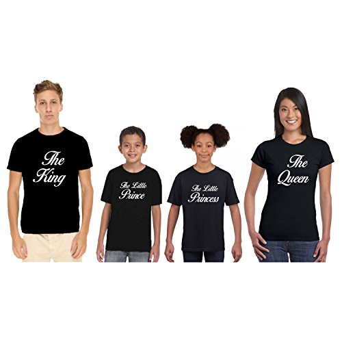 TYYC Royal King Queen Prince Princess Family Tshirts - Set of 4 For Mom Dad Son and Daughter