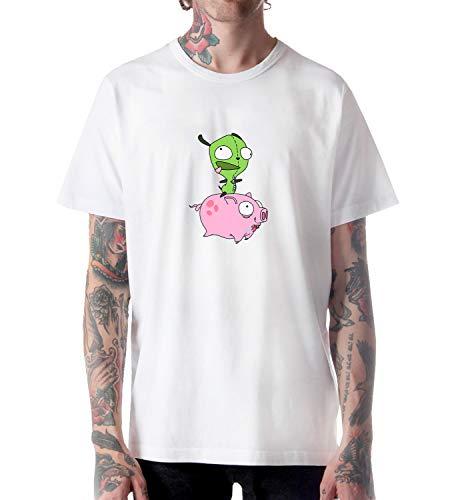 Invader Zim Pig Year_A0156 Shirt Tshirt for Men Herren Man Male Cotton Present Gift 2XL White (Invader Zim Hoodie)