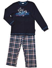 Jungen Schlafanzug mit karierter Flanellhose - Moonline