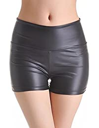 Ostenx kurze Hose Damen Schwarz PU Hoch-Taille Sexy Tanz Hosen kurze Legging