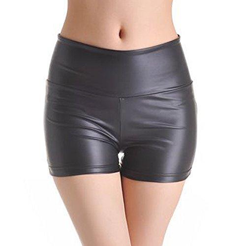 Ostenx kurze Hose Damen Schwarz PU Hoch-Taille Sexy Tanz Hosen kurze Legging (S) (Pants Leder Hot)