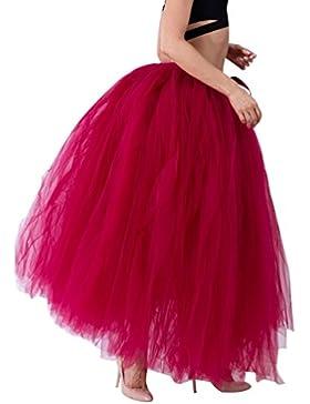 LINNUO Falda de Tul Largo Falda A Media Pierna Tul Mujer Cintura Elástica Plisada Básica Para Fiesta Danza
