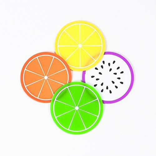 Didcant Colorful Silikon Fruit Untersetzer, perfektes Design und Multi Muster für Drink/Wein/Suppe, Home/Office Mittelpunkt für Tisch – Fantastisches Geschenk Einzugs (Zitrone, grün Zitrone, Dragon Fruit, orange), 4 Colors, 4-pack (4 Farben, 4 Packung) (Suppe, Hand Mixer)