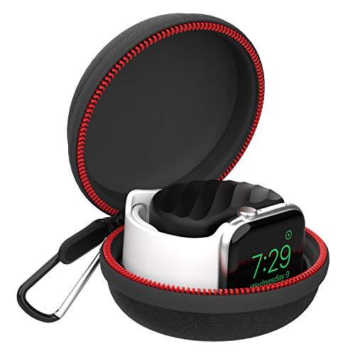 Moretek Funda de Transporte Base Soporte de Carga Dock para Apple Watch Series 1 2 3 4 38mm 42mm 40mm 44mm, Negro, cable de carga no incluido