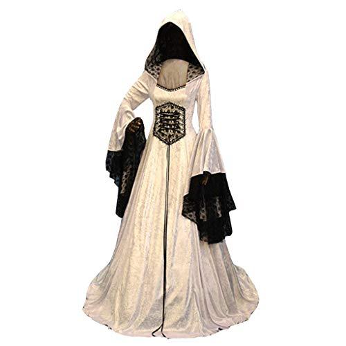 Auiyut Maxi Kleider Damen Gothic Steampunk Mittelalter Langarm Elegant Kostüm Mit Kapuze Mittelalterliches Kleid Retro Kleid Rock Cosplay Spitze Kleid mit Trompetenärmel