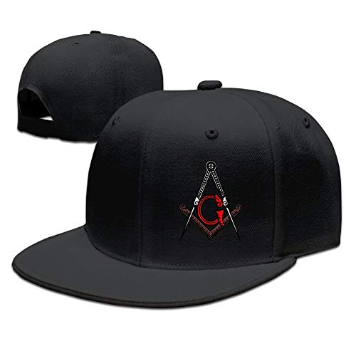Herren Damen Baseball Caps,Hüte, Mützen, Freemason Square and Compass Red Unisex Snapback Flat Bill Baseball Cap - Red Square Platte