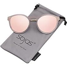 SOJOS Gafas De Sol Mujer Lentes Redondas Espejo Reflexivo SJ1074