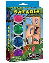 Safari'O Glitter Tattoo Set - Safari, Zoo und Dschungel Tier- Körperkunst