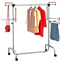 Tatkraft Falcon Heavy Duty Adjustable Clothes Rail, Rolling Garment, Sturdy Clothes Rack, Extendable Length 3.5-5.7 Ft and Height 4.5-6.1 Ft, Easy to Assemble, Chromed Steel
